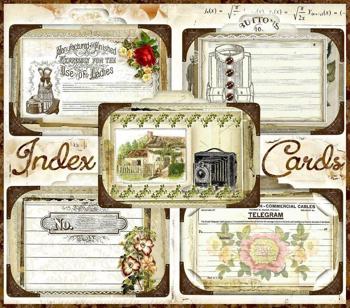 Junk Journal Ephemera Index Card Set - Digital Printable - INSTANT DOWNLOAD