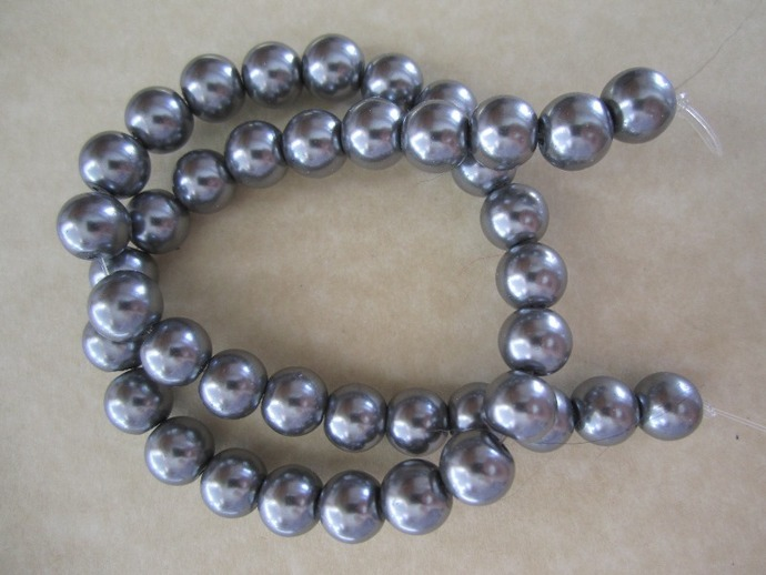 Grey Glass Pearls