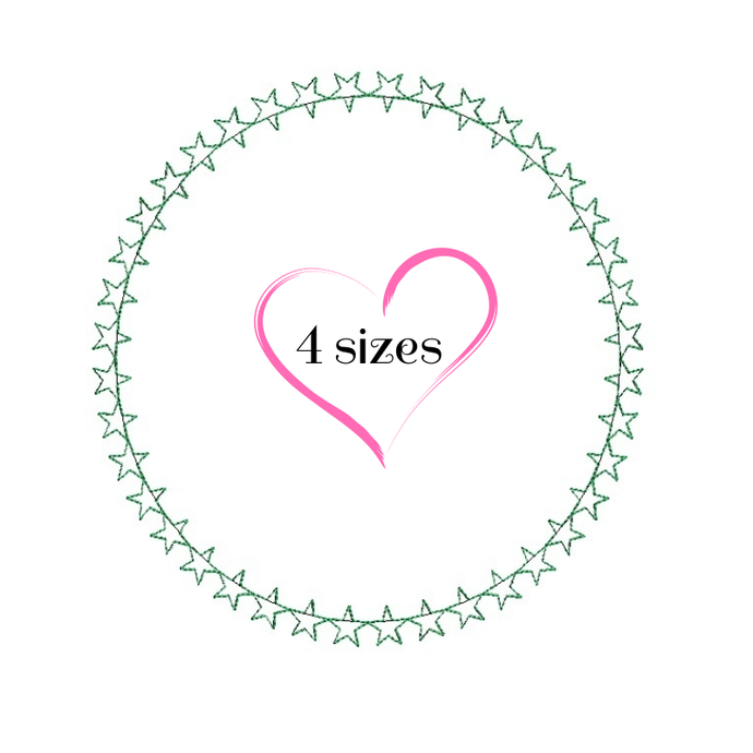 Circle of star frame monogram Font Machine Embroidery Designs Instant Download
