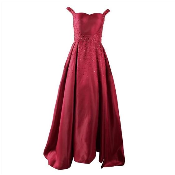 Elegant A-Line Beading  Prom Dresses,Long Prom Dresses,Cheap Prom Dresses,