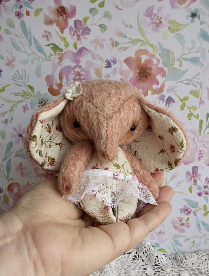 Tea Rose the jointed mohair Elephant by Woollybuttbears