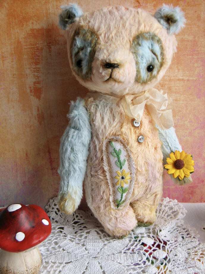 Sunflower Artist Handmade Panda Teddy Bear for BJD Doll Blythe by