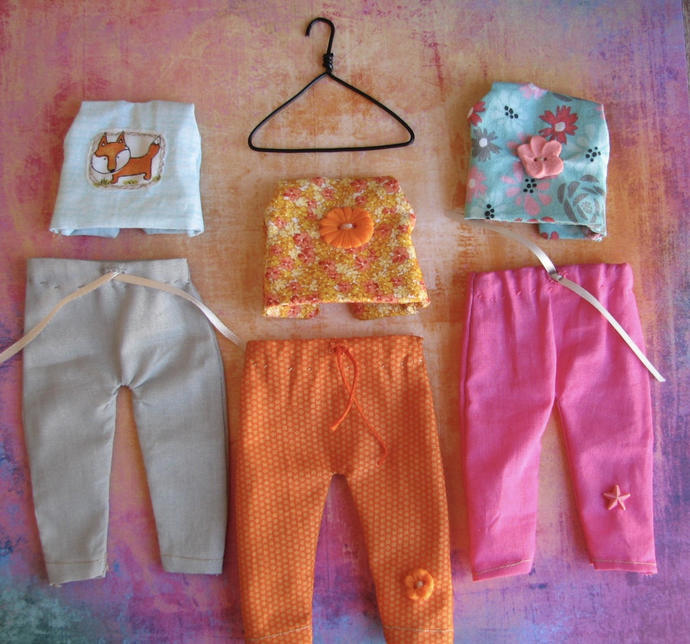 Blythe or bjd doll clothes doll Top and Pants set Orange.