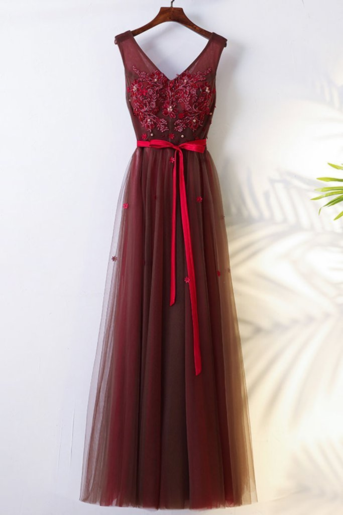BURGUNDY V NECK LACE TULLE LONG PROM DRESS BRIDESMAID by lass on