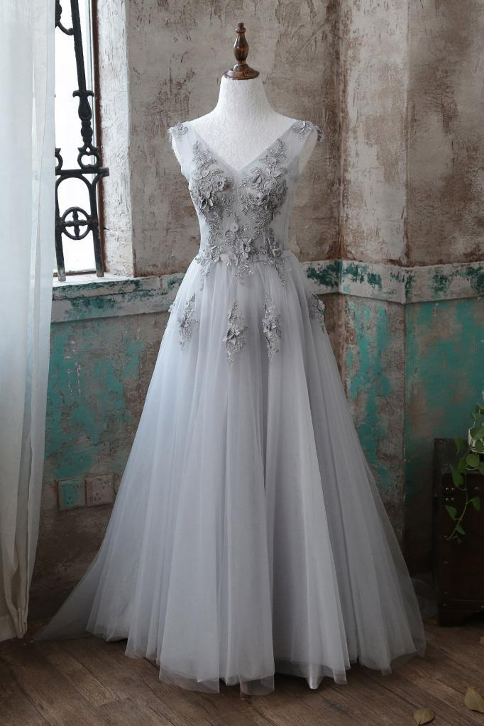 2018 GRAY V NECK LACE APPLIQUE TULLE LONG PROM DRESS, GRAY EVENING DRESS