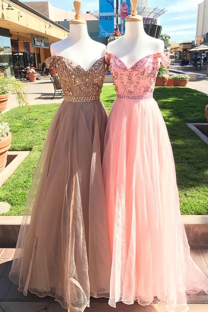 UNIQUE OFF SHOULDER TULLE BEADS LONG PROM DRESS, EVENING DRESS