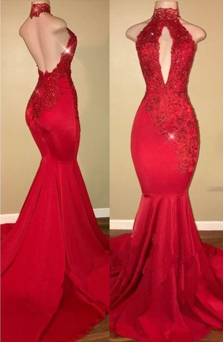 Backless Mermaid Red Lace 2018 Prom Dress, Evening by dresses on