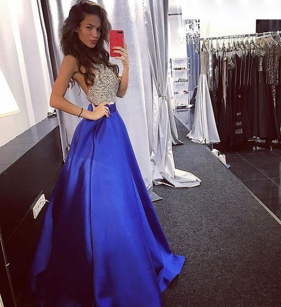 Charming Prom Dress, Sexy Crystal Beaded Royal Blue Sleeveless Prom Dresses,