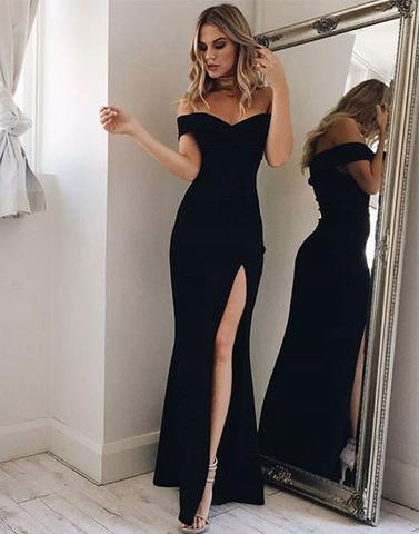 Sexy Prom Dresses,Unique Off Shoulder Prom Dress, Split Side Evening Party