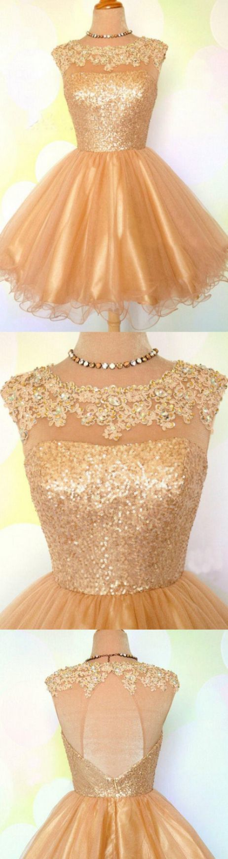 Princess Homecoming Dresses, Gold Homecoming Dresses, Short Prom Dresses With