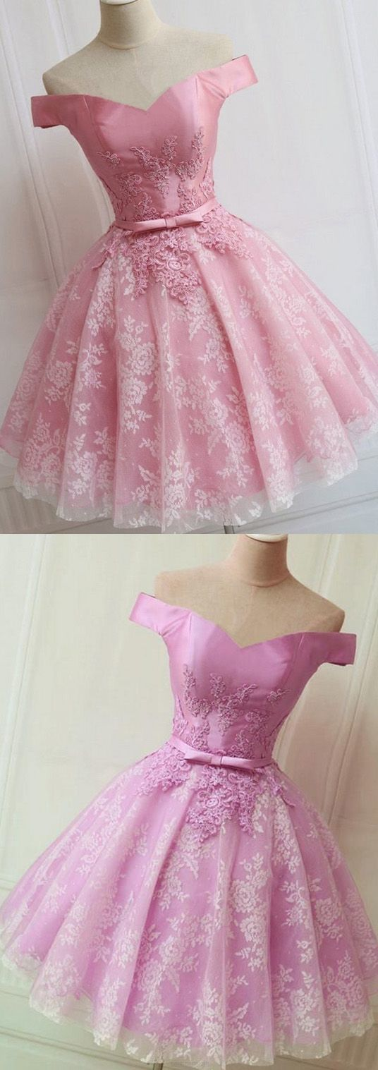 Short A-line/Princess Prom Dresses, Pink Sleeveless With Bowknot Mini Homecoming