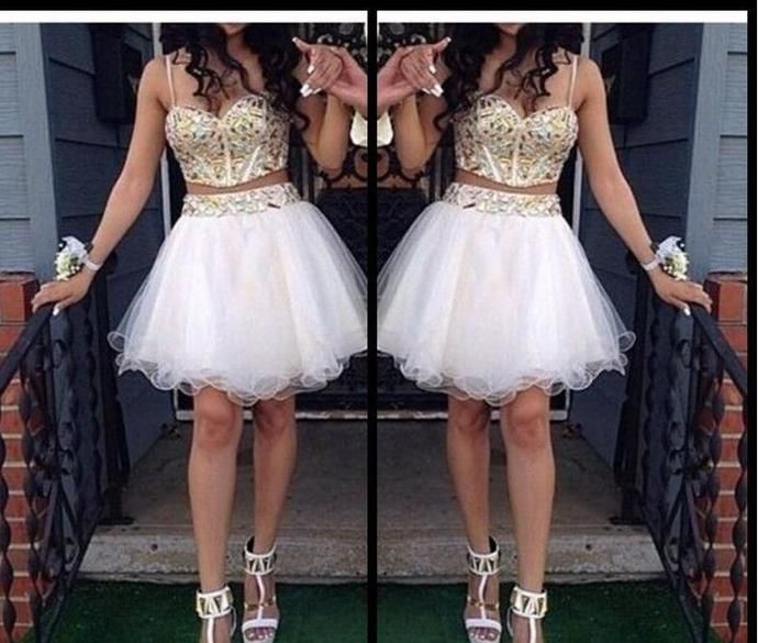2 piece ball gown homecoming dresses with gold by dresses on zibbet