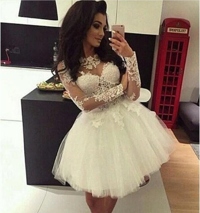 White Ball Gown Homecoming Dresses Long Sleeve Applique Lace 8th grade Prom