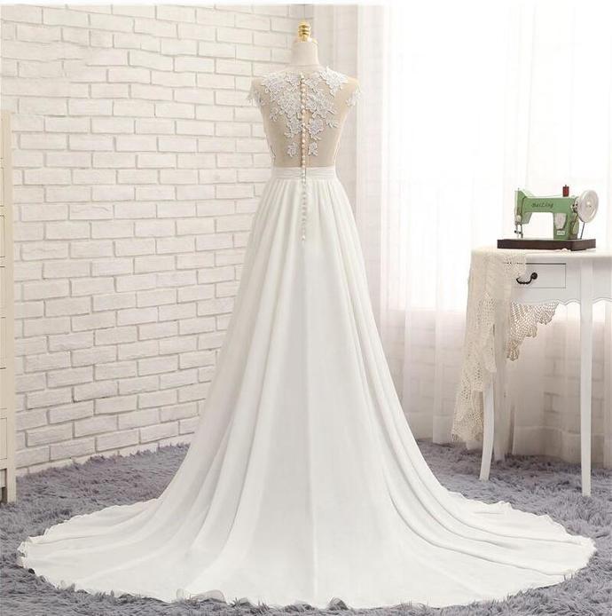 Sexy Beach Wedding Dresses Side Split Bridal Gowns Chiffon Illusion See Through