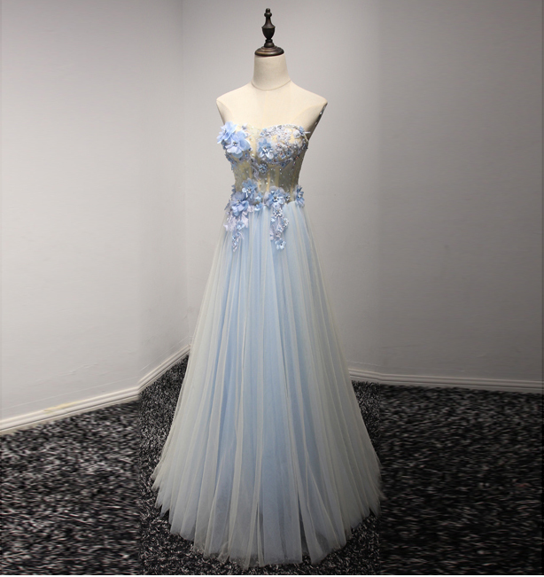 32a539610f1b by prom dresses. Light Blue Floral Appliqués Beaded Embellished Sweetheart  Floor Length Tulle