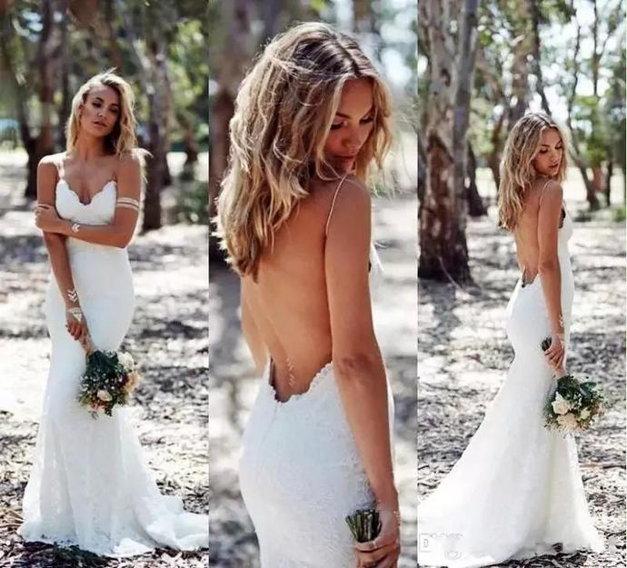 Backless Wedding Dresses Mermaid Spaghetti Strap Sexy Full Lace Wedding Dress
