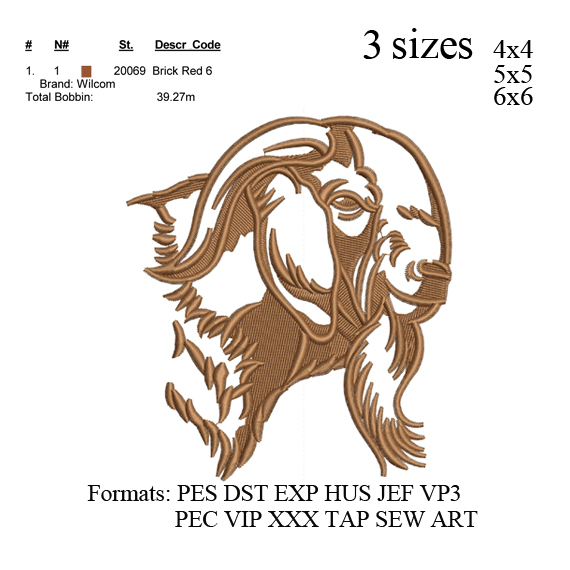 Boer Goat embroidery design, Nubian Goat embroidery, embroidery pattern N 657