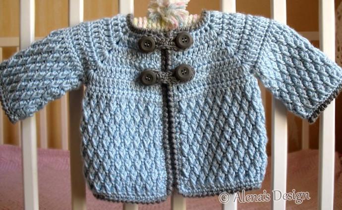 33a5e6797 Crochet Pattern 192 - Diamond Baby Jacket 3