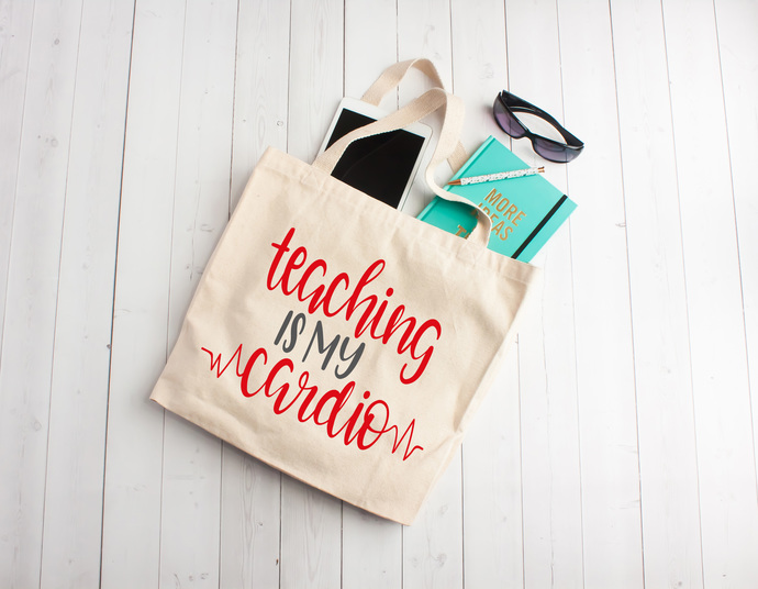 Teaching is my cardio, teacher appreciation gifts, Custom tote bags, unique