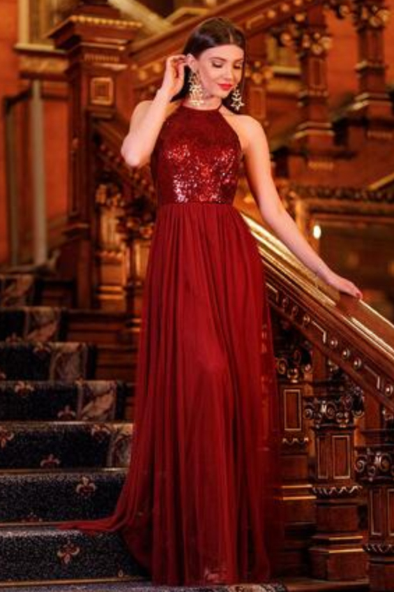 Spaghetti Straps Prom Dresses,Sequined Prom Gown,Burgundy Prom Dresses,Chiffon