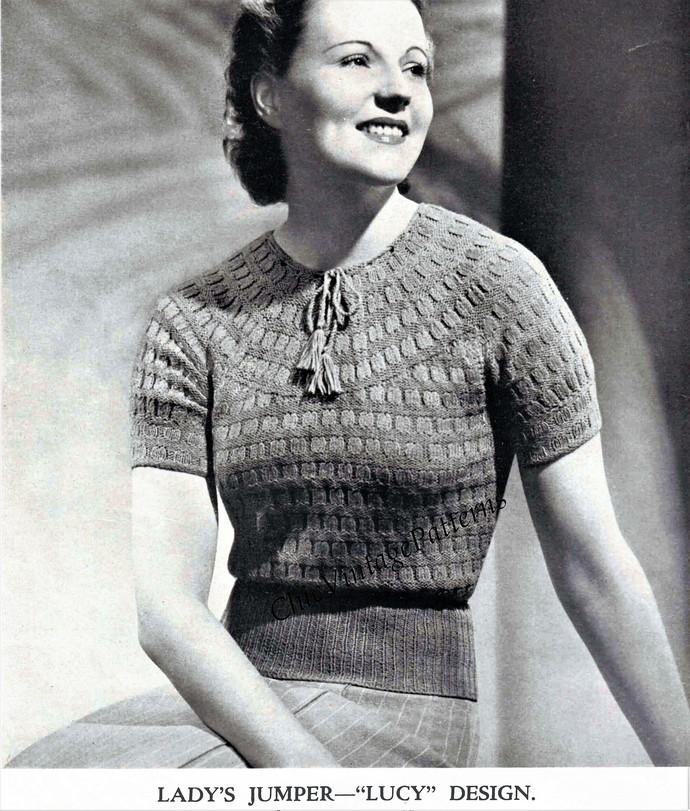 1940s Ladies Sweater Digital Pattern By Chicvintagepatterns On