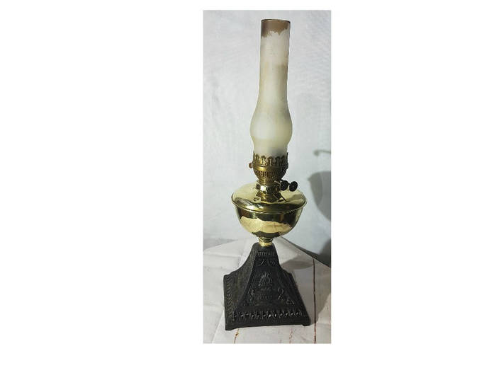 Antique Original Oil Lamp with Brass Font, cast iron base and chimney - fully