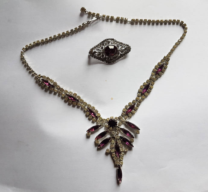 Pendant Necklace and Brooch High quality Costume Jewellery amethyst, clear