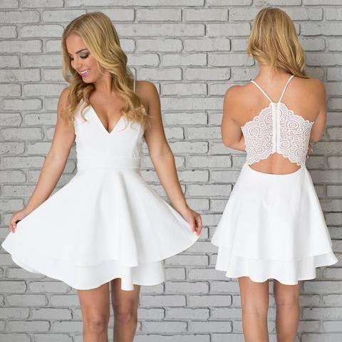 White Homecoming Dress V Neck,Sexy Homecoming Dress,Teens Homecoming