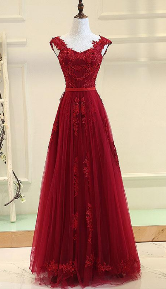 Red Tulle Pretty Prom Dress , V-neckline by prom dresses on Zibbet