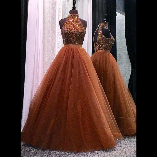 Brown Tulle Prom Dresses Long High Neck Open Back Evening Dresses Elegant Formal