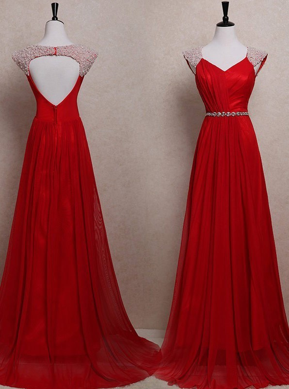 Chiffon Prom Dresses,Long Beaded Evening by prom dresses on Zibbet