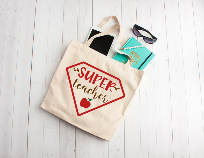 Super teacher, personalized book bags, teacher appreciation gifts, Custom tote