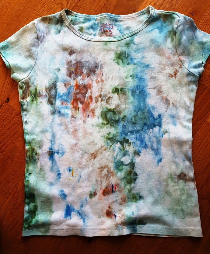 Girl's Top, Ice Dyed Multi-colored Cap Sleeve  Cotton Top - Size Large