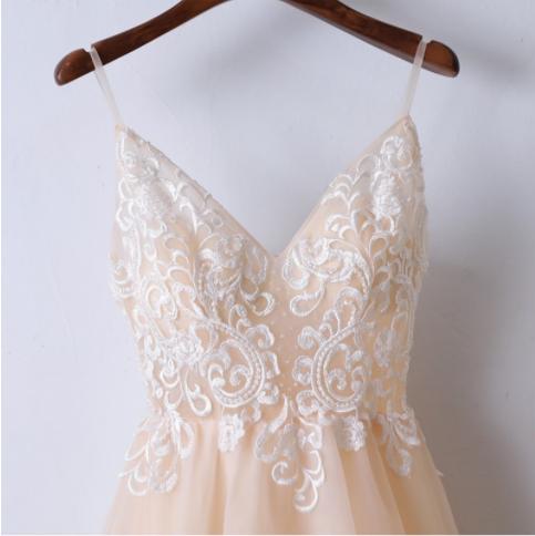 Champagne Spaghetti Straps Elegant 2018 Prom Dresses,Prom Dresses,Formal Women