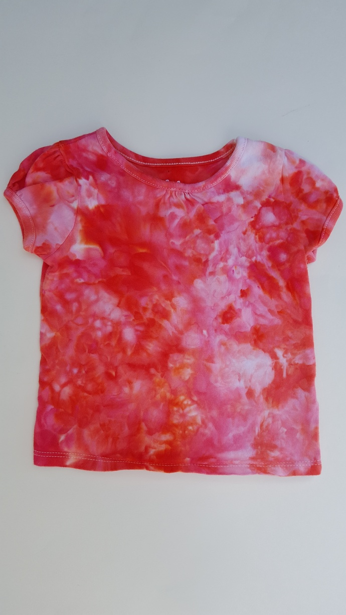 Girl's Cotton Top, Ice Dyed  Red Top - Cap Sleeve - Cotton Top - Size 18 Months