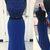 Blue chiffon sequins round neck floor-length prom dress 2018