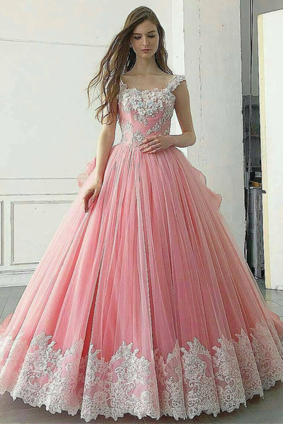 Pink tulle A-line scoop neck long customize spring prom dress, long lace evening