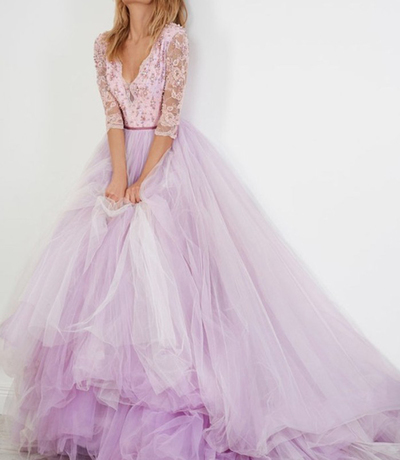 Lavender tulle two pieces lace top mid-sleeves long layer evening dress, beaded