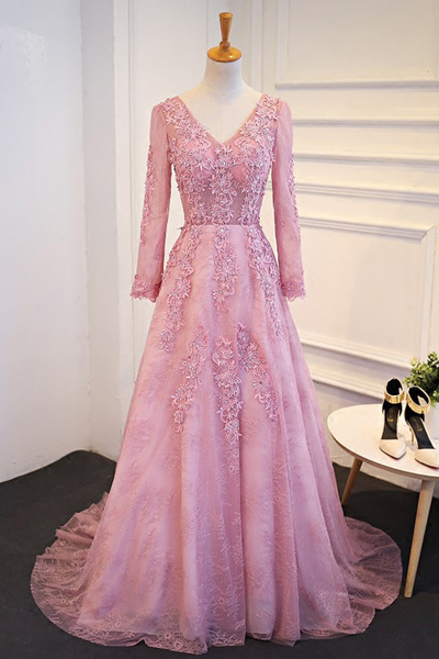 a694aba8e06 Elegant long sleeves pink tulle long senior prom by lass on Zibbet