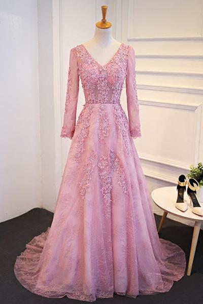 c68425e921c Elegant long sleeves pink tulle long senior prom by lass on Zibbet