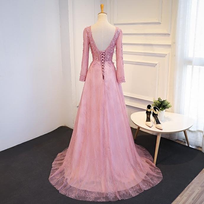 f5100b67847 Elegant long sleeves pink tulle long senior prom dress 2018 ...
