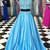 Sky blue satin two pieces beaded long senior prom dress, sequins high neck