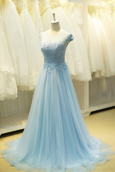Cute blue tulle round neckline beaded sweet16 prom dress with cap sleeves
