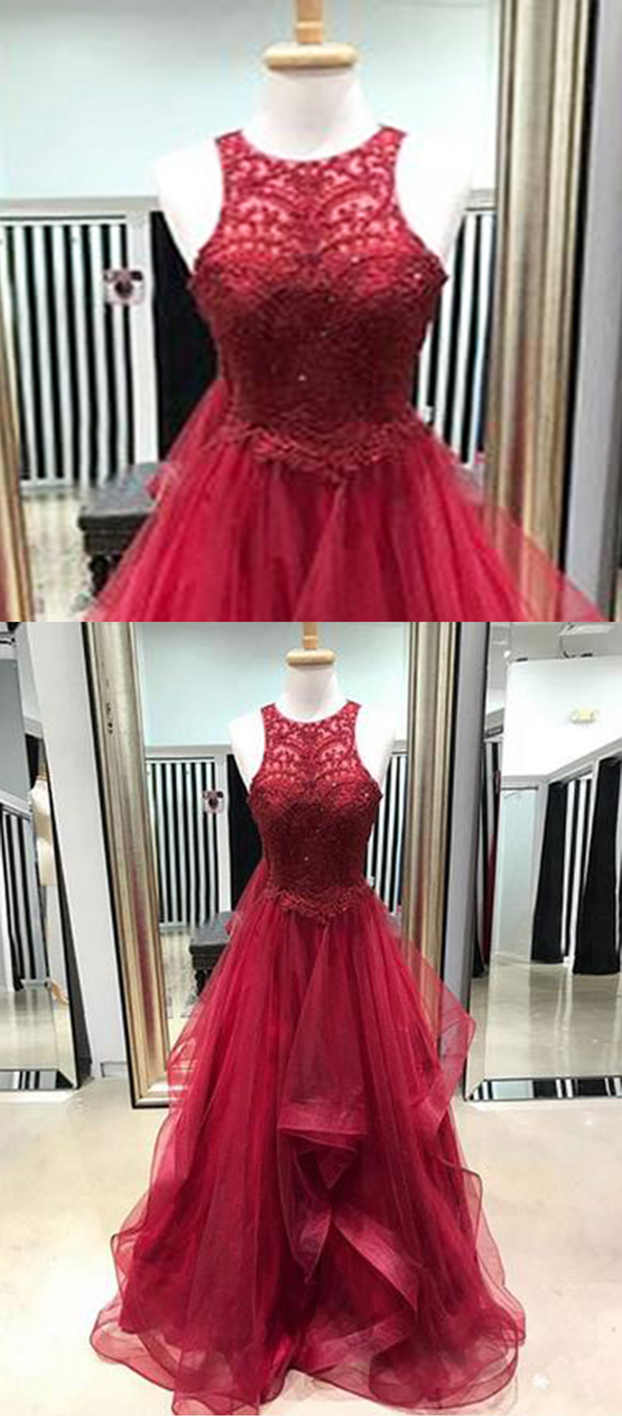 Burgundy lace scoop neck long ruffles tulle evening dress, prom dress 2018