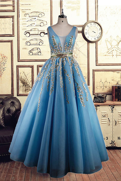 Unique blue organza long golden lace appliqués formal prom dress, golden belt