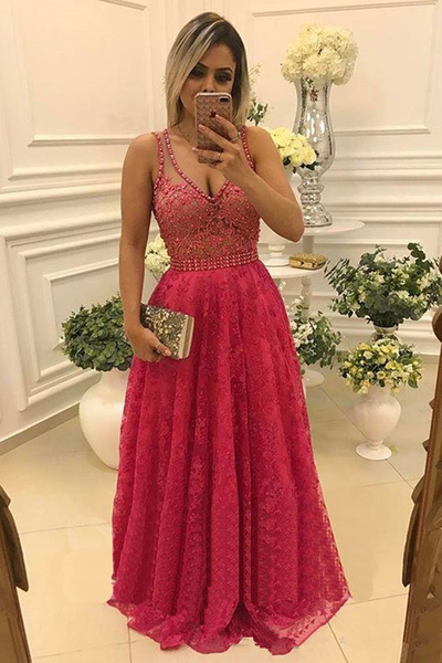 Hot pink lace long beaded V-neck see-through evening dress, sexy prom dresses
