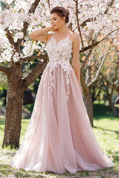1ca6998a7b Stylish blush pink lace appliqués long prom dress