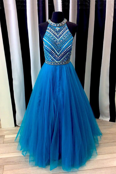 2018 Royal blue tulle long beaded evening dress, senior prom dresses