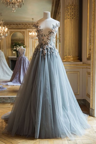 Gorgeous unique design sequins sexy long prom dress, tulle evening dress 2018