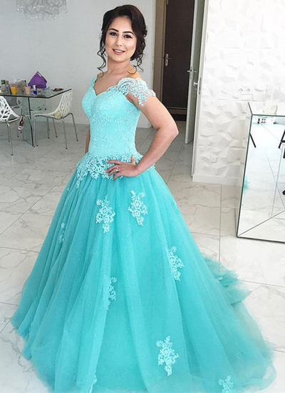 Princess mint lace cap sleeves long tulle winter formal prom dress, long V neck